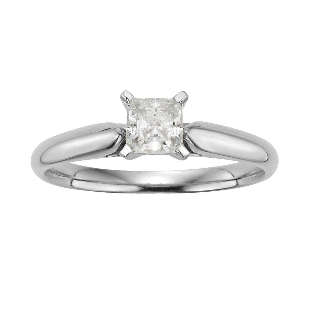 Princess-Cut IGL Certified Diamond Solitaire Engagement Ring in 14k White Gold