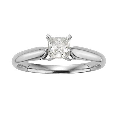 14k White Gold 1/2-ct. T.W. IGL Certified Princess-Cut Diamond Solitaire Ring