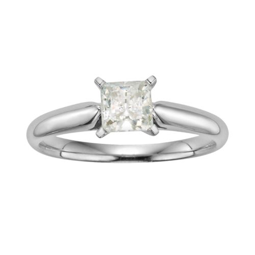 14k White Gold 3/4-ct. T.W. IGL Certified Princess-Cut Diamond Solitaire Ring