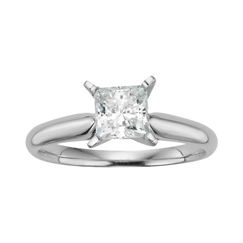 Princess-Cut IGL Certified Diamond Solitaire Engagement Ring in 14k White Gold (1 ct. T.W.)