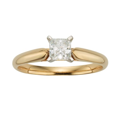 Princess-Cut IGL Certified Diamond Solitaire Engagement Ring in 14k Gold (1/2 ct. T.W.)