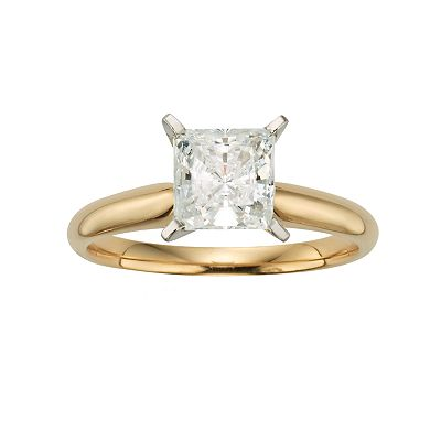 14k Gold 1 1/2-ct. T.W. IGL Certified Princess-Cut Diamond Solitaire Ring