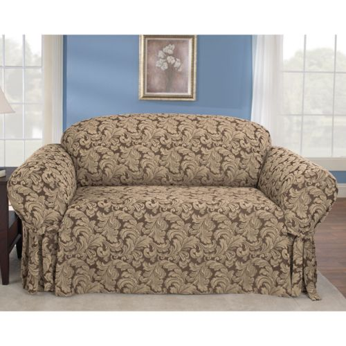 Sure Fit Scroll Damask Loveseat Slipcover