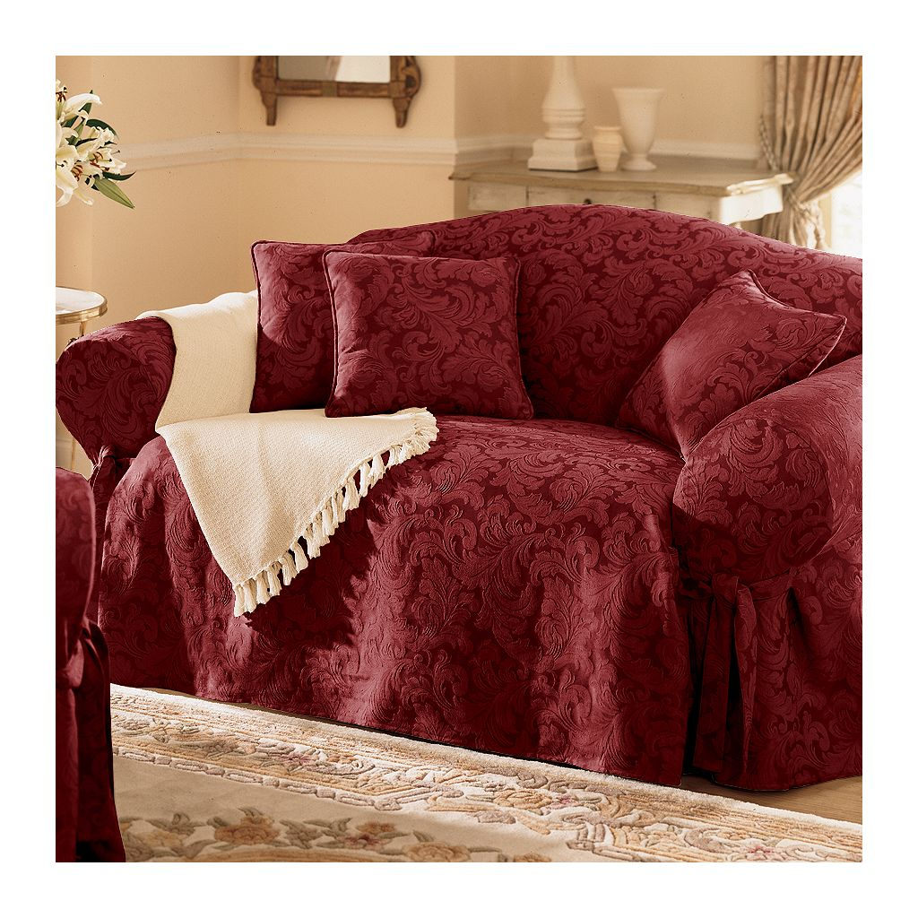 Sure Fit™ Scroll Damask Loveseat Slipcover