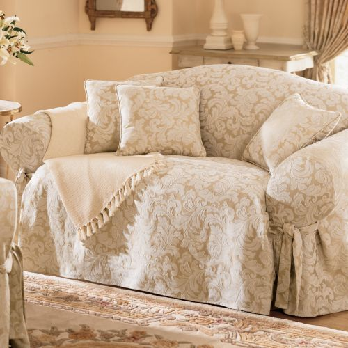 Sure Fit Scroll Damask Sofa Slipcover