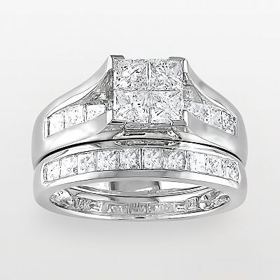 14k White Gold 2-ct. T.W. Princess-Cut Diamond Ring Set