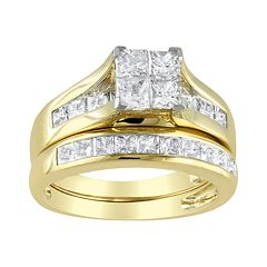 14k Gold 2 ctT.W. Princess-Cut Diamond Ring Set