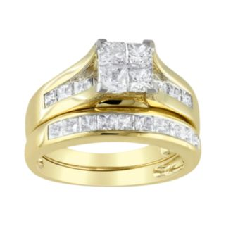 14k Gold 2-ct. T.W. Princess-Cut Diamond Ring Set