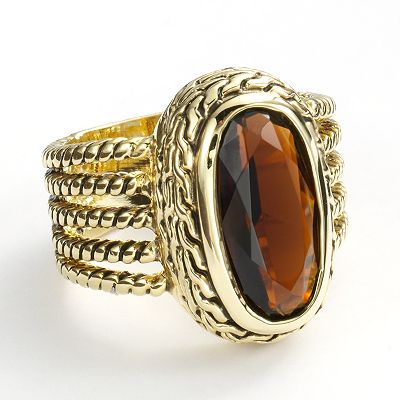 Gold Tone Textured Ring