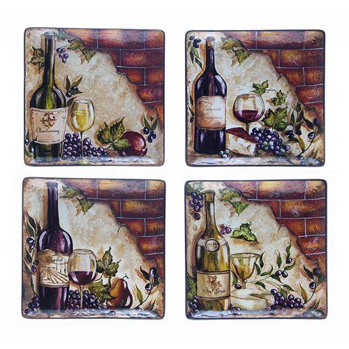 Certified International Wine Cellar 4-pc. Square Dinner Plate Set