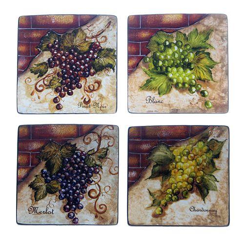 Certified International Wine Cellar 4-pc. Square Salad Plate Set