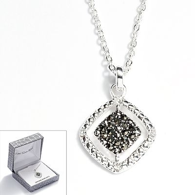 Silver Plated Marcasite and Crystal Openwork Square Pendant