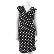 Ronni Nicole Polka-Dot Drapeneck Dress