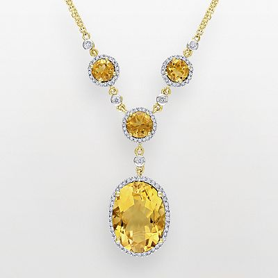 14k Gold 1/2-ct. T.W. Diamond and Citrine Y Necklace