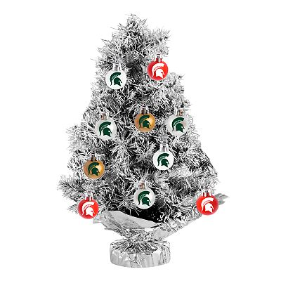 Michigan State Spartans 17-pc. Tabletop Tinsel Christmas Tree and Ornament Set