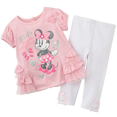 Disney Mickey Mouse and Friends Minnie Mouse Top and Leggings Set - Baby