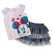 Disney Mickey Mouse and Friends Minnie Mouse Top and Tiered Skirt Set - Baby