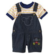 Disney Mickey Mouse and Friends Denim Shortalls and Striped Tee Set - Baby