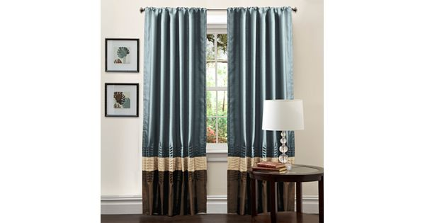 Blue And Tan Curtains: Lush Decor Mia Window Panel Pair