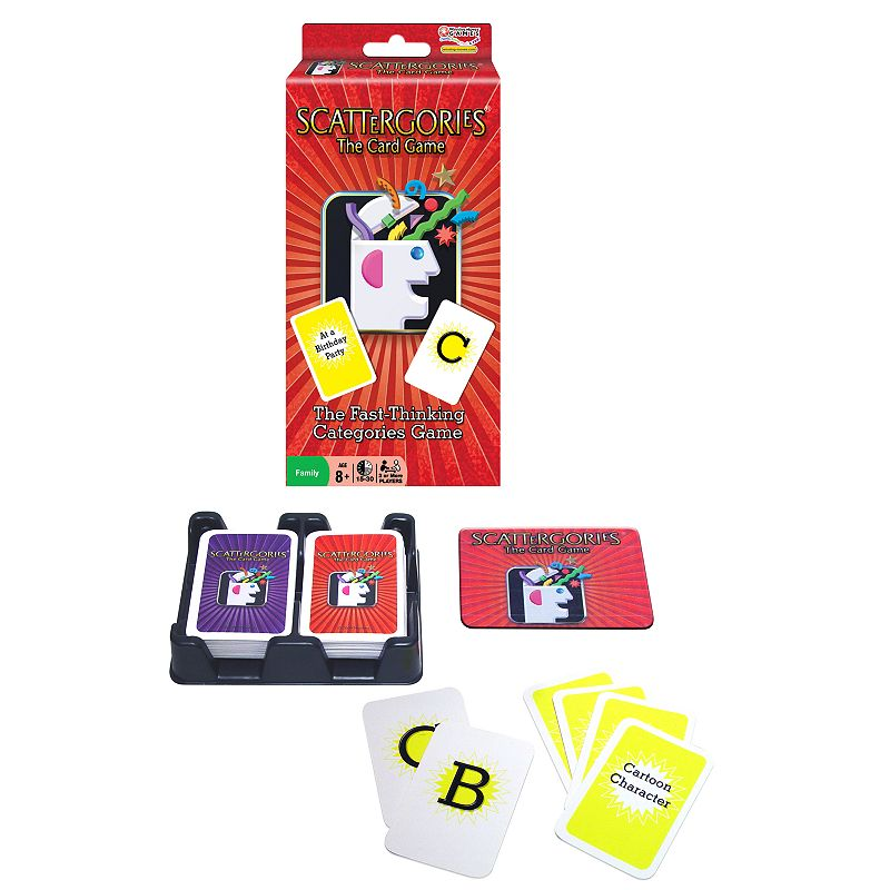 Scattergories The Card Game Cards make for perfect on-the-go play Includes: 1 deck of letter cards, 1 deck of category cards, 2 I Know cards & card tray 1.3H x 5.8W x 6.8D (packaged) Ages 8 years & up For 2 or more players  Size: One Size. Color: Multicolor. Gender: unisex. Age Group: kids.