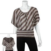 IZ Byer California Lace Back Striped Dolman Top - Juniors