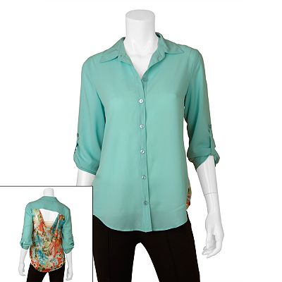 IZ Byer California Floral Button-Front Top - Juniors