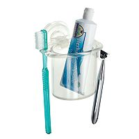 interDesign PowerLock Suction Razor & Toothbrush Center