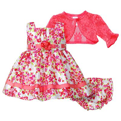 Youngland Floral Dress and Cardigan Set - Newborn