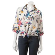 About A Girl Floral Tie-Front Hi-Low Top - Juniors