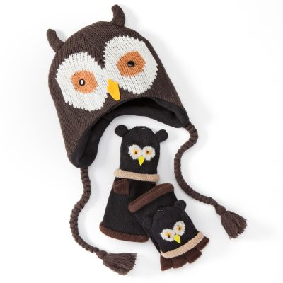 Owl Trapper Hat and Flip-Top Gloves Set