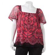 Apt. 9 Paisley Mesh Top - Women's Plus