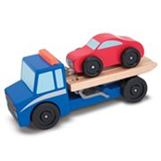 Melissa and Doug Flatbed Tow Truck Wooden Toy Set