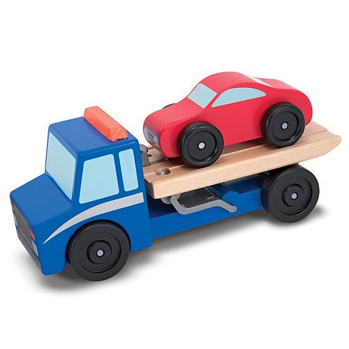 Melissa & Doug Flatbed Tow Truck Wooden Toy Set