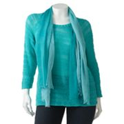 Apt. 9 Open-Work Tape Yarn Sweater and Scarf Set - Women's Plus