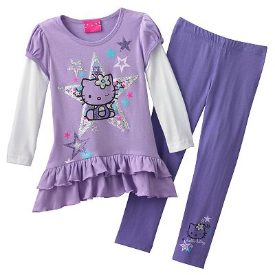Hello Kitty Mock-Layer Star Top and Leggings Set - Toddler