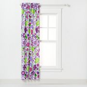 Bacati Botanical Sancturay Purple Floral Curtain Panel