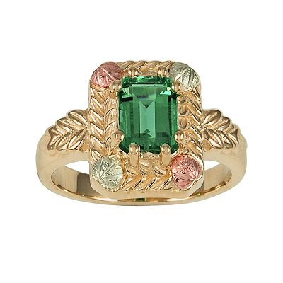 10k and 12k Gold Tri-Tone Lab-Created Emerald Leaf Ring