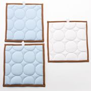 Bacati 3-pc. Quilted Blue and Chocolate Circles Wall Hangings