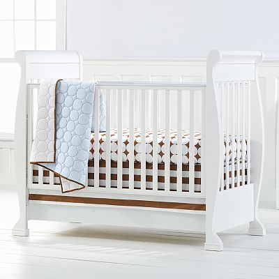 Bacati 4-pc. Quilted Blue and Chocolate Circles Crib Set