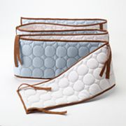 Bacati Quilted Blue and Chocolate Circles Crib Bumper