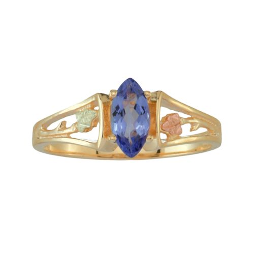 Black Hills Gold Tri-Tone Tanzanite Leaf Ring