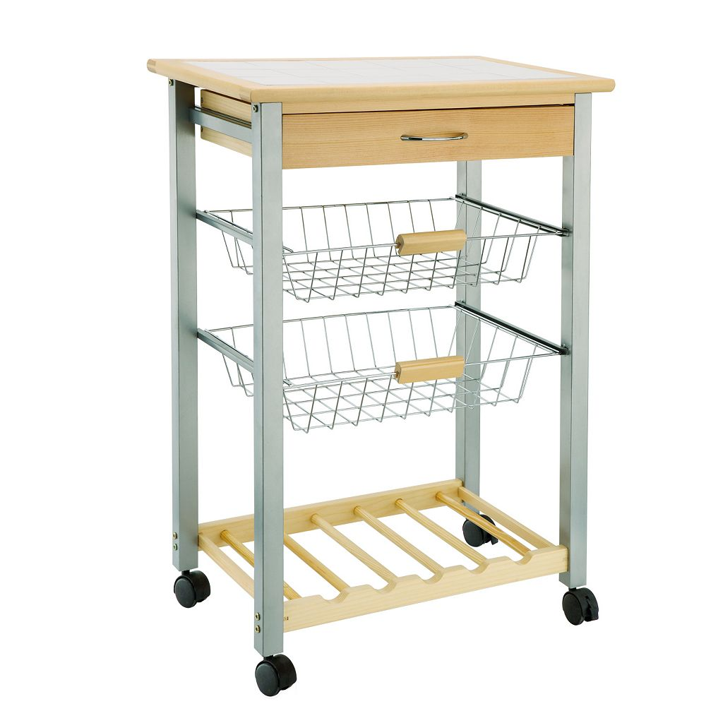 Neu Home Basket & Wine Rack Kitchen Cart