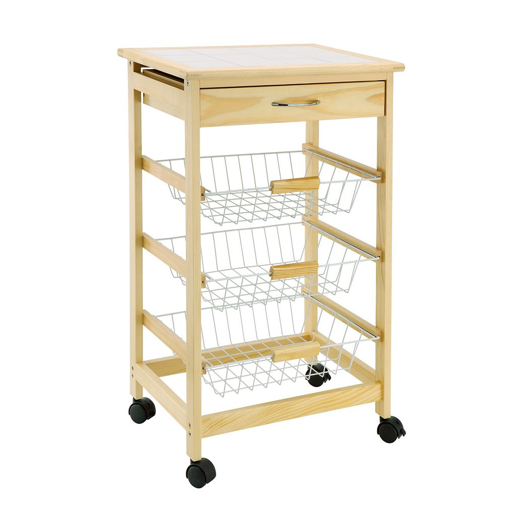 Neu Home 3-Basket Kitchen Cart