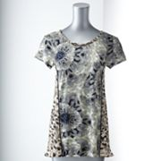 Simply Vera Vera Wang Floral Mixed-Media Top