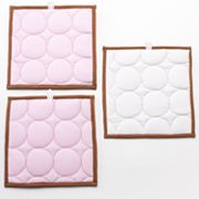 Bacati 3-pc. Quilted Pink and Chocolate Circles Wall Hangings