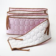 Bacati Quilted Pink and Chocolate Circles Crib Bumper