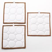 Bacati 3-pc. Quilted White and Chocolate Circles Wall Hangings