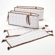 Bacati Quilted White and Chocolate Circles Crib Bumper