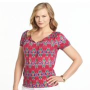 Chaps Printed Drawstring Top - Women's Plus