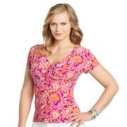 Chaps Printed Empire Top - Women's Plus